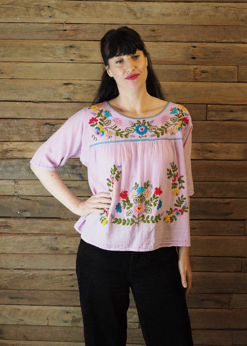 Frida Flow Top Baby Pink - Light Green Leaves