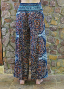 Flow Pants - Blue with Browns Mandalas