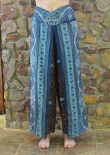 Load image into Gallery viewer, Flow Pants - Blue with Browns Mandalas