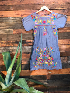 Little Frida shift Dress- blue grey
