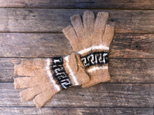 Load image into Gallery viewer, Speckled beige with black- Bolivian Double Alpaca Fingerless Gloves
