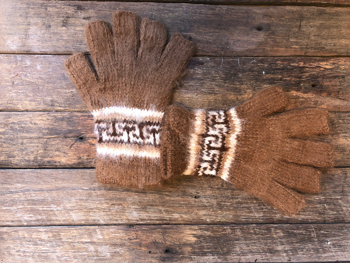Caramel and white - Bolivian Double Alpaca Fingerless Gloves