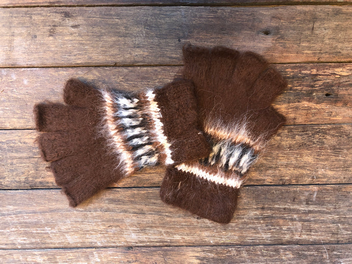 Cocoa - Bolivian Double Alpaca Fingerless Gloves