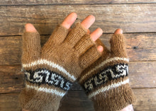 Load image into Gallery viewer, Speckled beige with brown- Bolivian Double Alpaca Fingerless Gloves