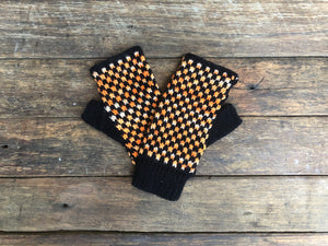 Yellow and Black- Bolivian Alpaca Fingerless Gloves