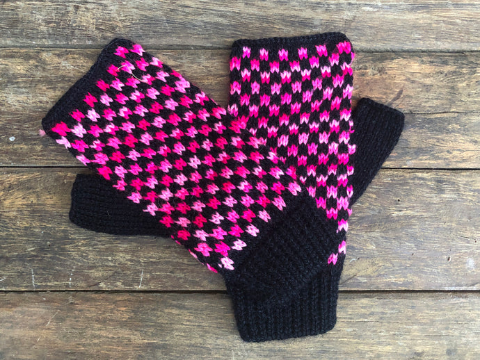 Pink and Black- Bolivian Alpaca Fingerless Gloves