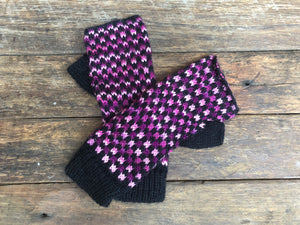 Purple and Black- Bolivian Alpaca Fingerless Gloves