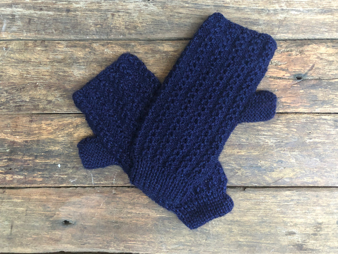 Navy - Bolivian Alpaca Fingerless Gloves