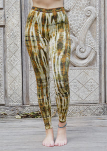Tie dye Leggings- Icicle Mustard and White