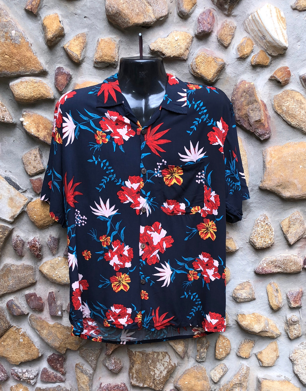 Large Love Shirt - Birds of Paradise Flowers on Navy
