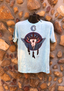 Large Funky Tee - Bull Totem - Baby Blue
