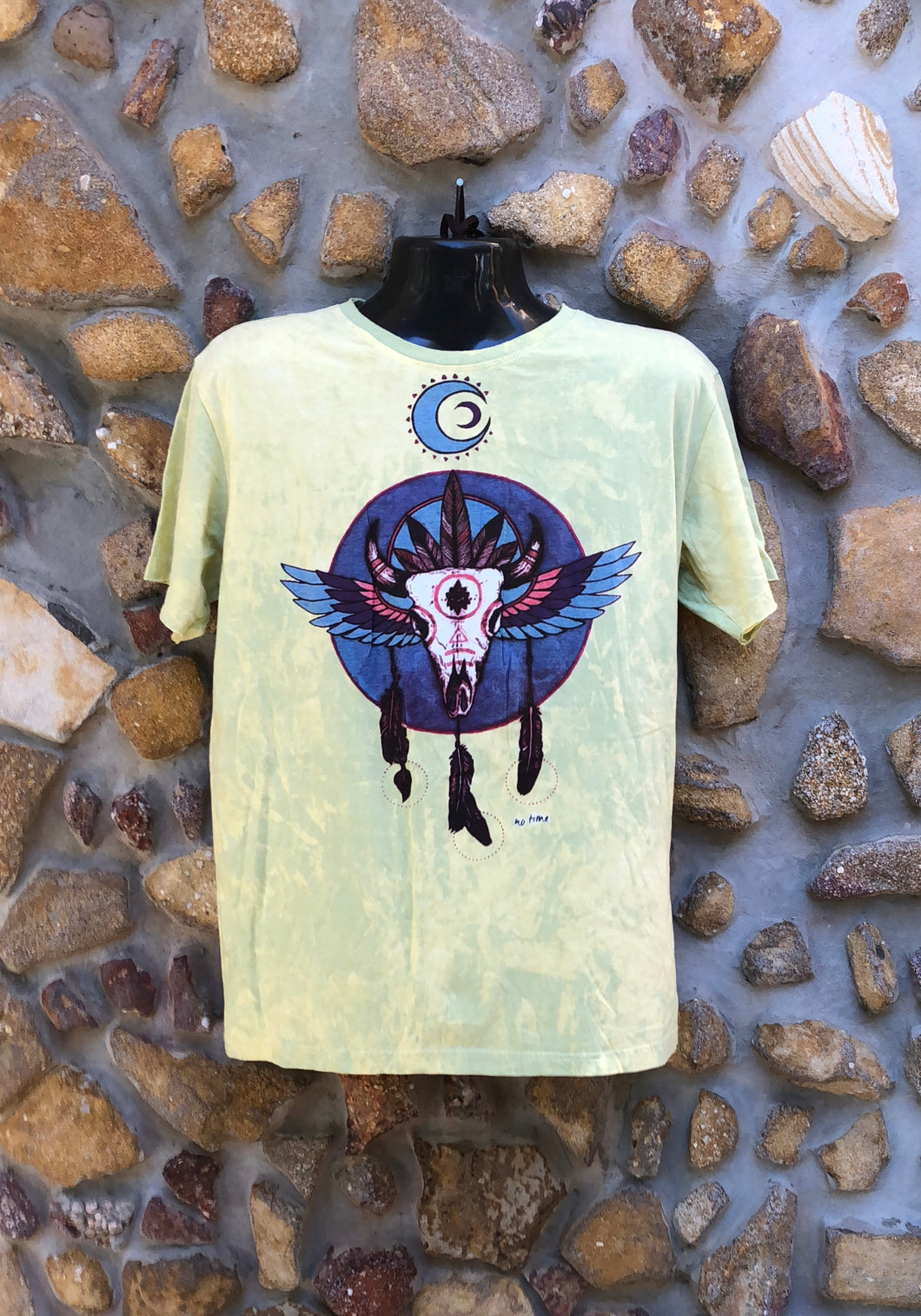 Large Funky Tee - Bull Totem - Lemon Yellow