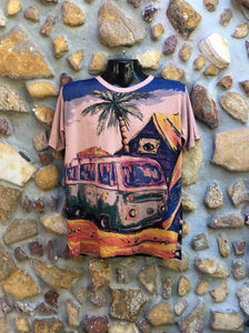 Large Funky Tee - Kombi and Palm Tree - Light Brown