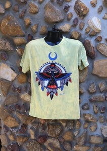Large Funky Tee - Eagle Totem - Grey Yellow