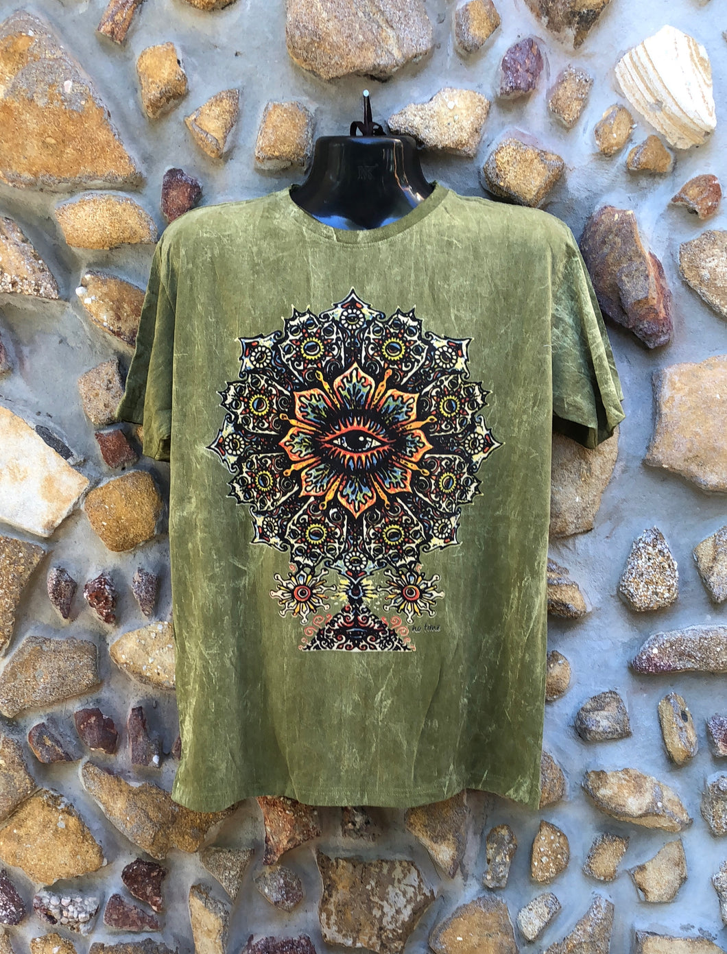 Large Funky Tee - Eye in a Flower - Khaki
