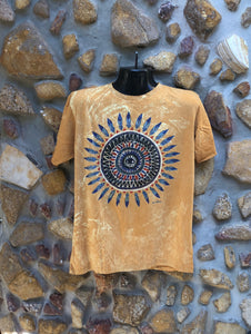 Large Funky Tee - Feather Mandala - Mustard
