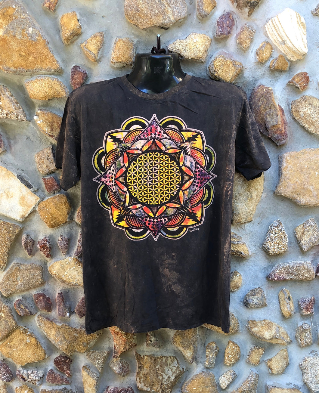 Large Funky Tee - Flower of Life Mandala - Brown