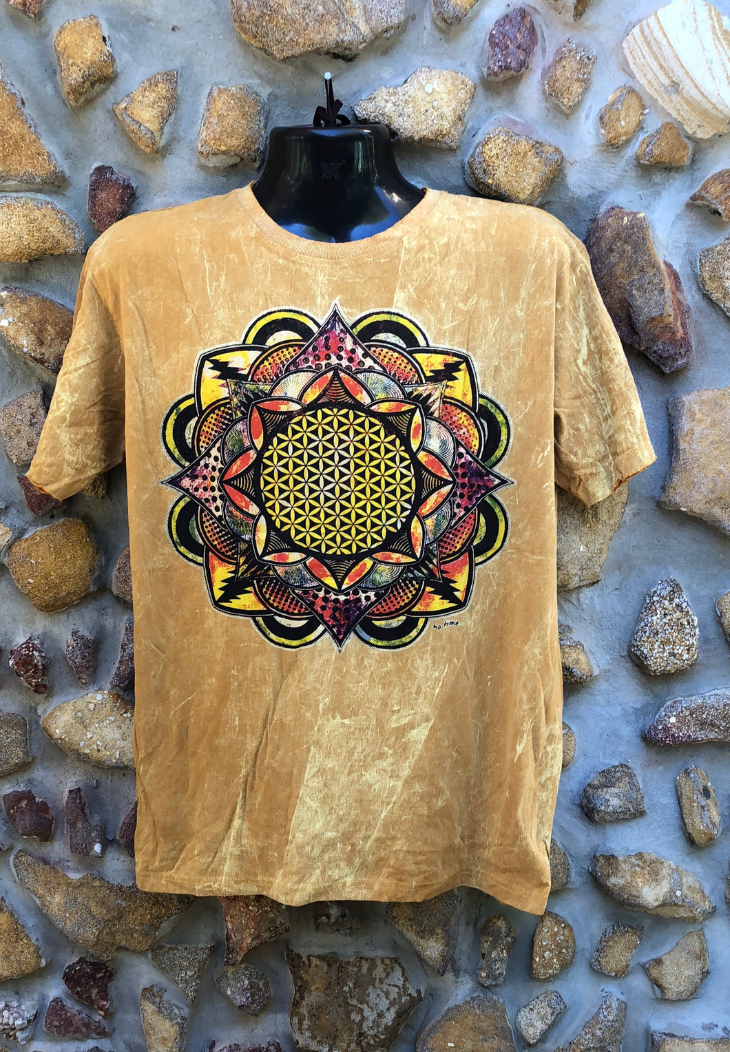 Large Funky Tee - Flower of Life Mandala - Mustard