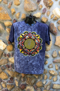 Large Funky Tee - Flower of Life Mandala - Navy