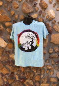 Large Funky Tee - Full Moon Yoga - Baby Blue