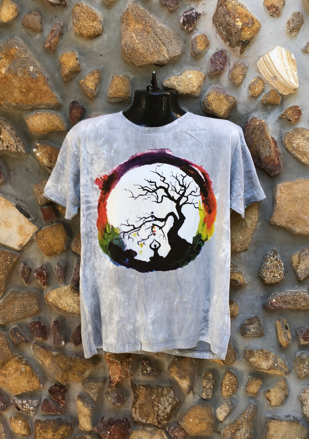 Large Funky Tee - Full Moon Yoga - Grey