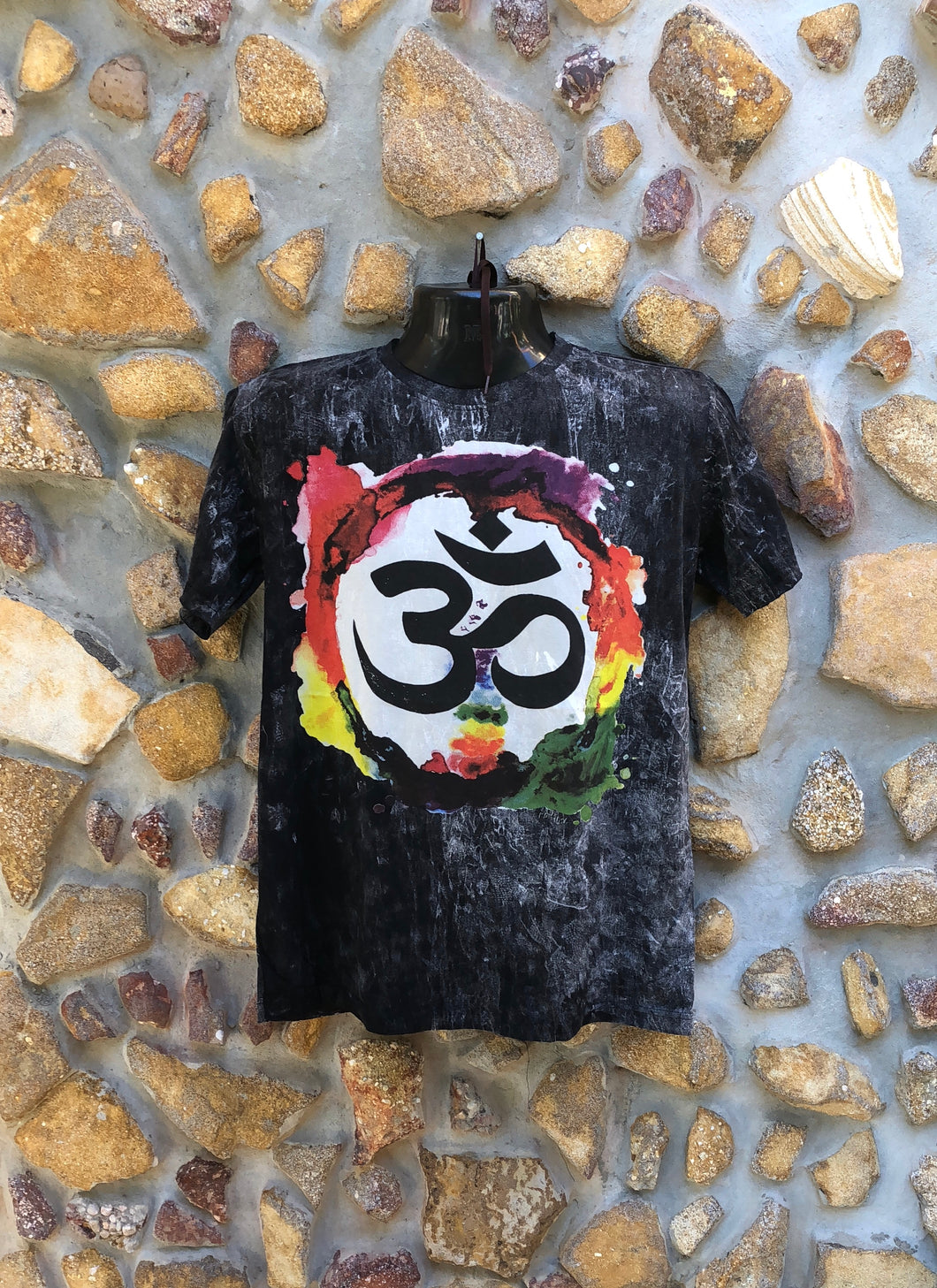 Large Funky Tee - Om in a Rainbow - Black