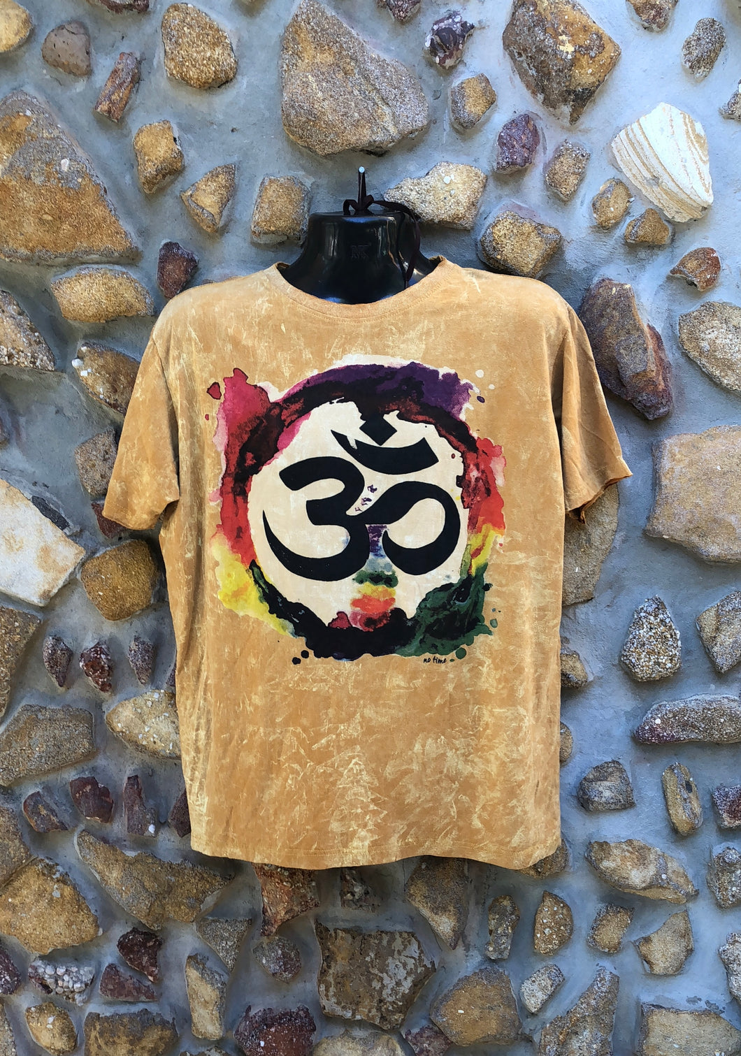 Large Funky Tee - Om in a Rainbow - Mustard