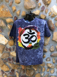 Large Funky Tee - Om in a Rainbow - Navy