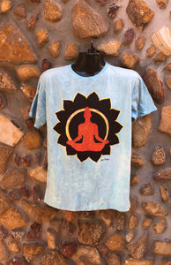 Large Funky Tee - Orange Buddha in Lotus - Baby Blue