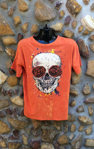 Large Funky Tee - Day of the Dead Skull - Orange