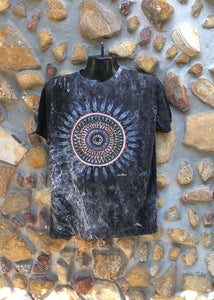 Large Funky Tee - Feather Mandala - Black