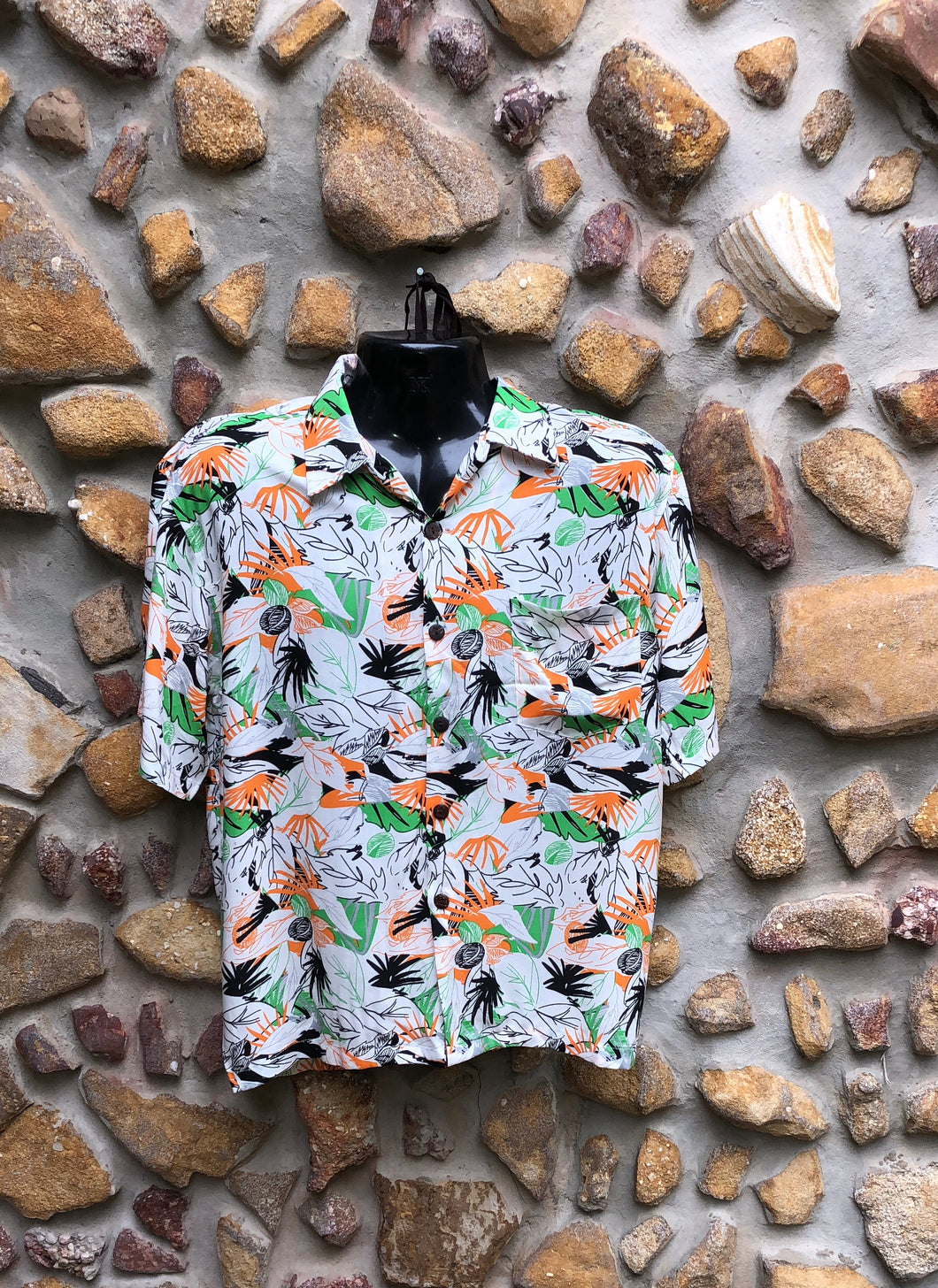 Large Love Shirt - Orange, Green and Black Flowers