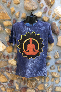Large Funky Tee - Orange Buddha in Lotus - Navy