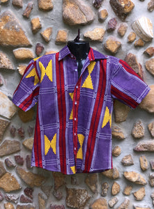 Large Love Shirt Cotton - Purple, Yellow and Ref African Print