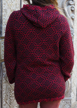 Load image into Gallery viewer, Large - Red Geometric Bolivian Alpaca Cardigan