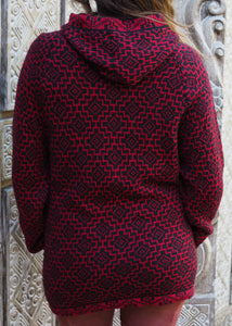 Large - Red Geometric Bolivian Alpaca Cardigan