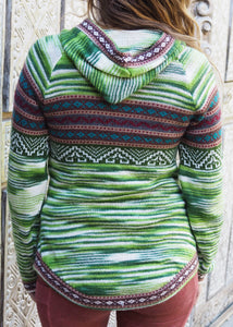 Large - Green Striped Bolivian Alpaca Jumper