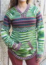 Load image into Gallery viewer, Large - Green Striped Bolivian Alpaca Jumper