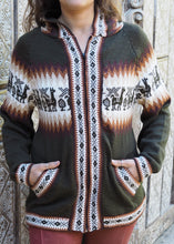 Load image into Gallery viewer, Large - Olive Green Bolivian Alpaca Cardigan