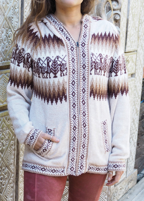 Large - Beige and Brown Bolivian Alpaca Cardigan