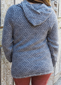 Large - Grey Geometric Bolivian Alpaca Cardigan