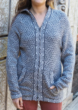 Load image into Gallery viewer, Large - Grey Geometric Bolivian Alpaca Cardigan