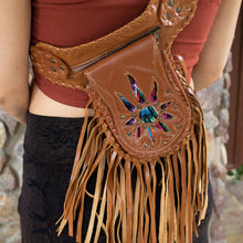 Load image into Gallery viewer, Tan Bohemian Leather Festival Belt with Tassels and Embroidery
