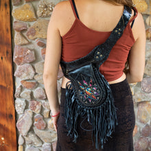 Load image into Gallery viewer, Black Bohemian Leather Festival Belt with Tassels and Embroidery