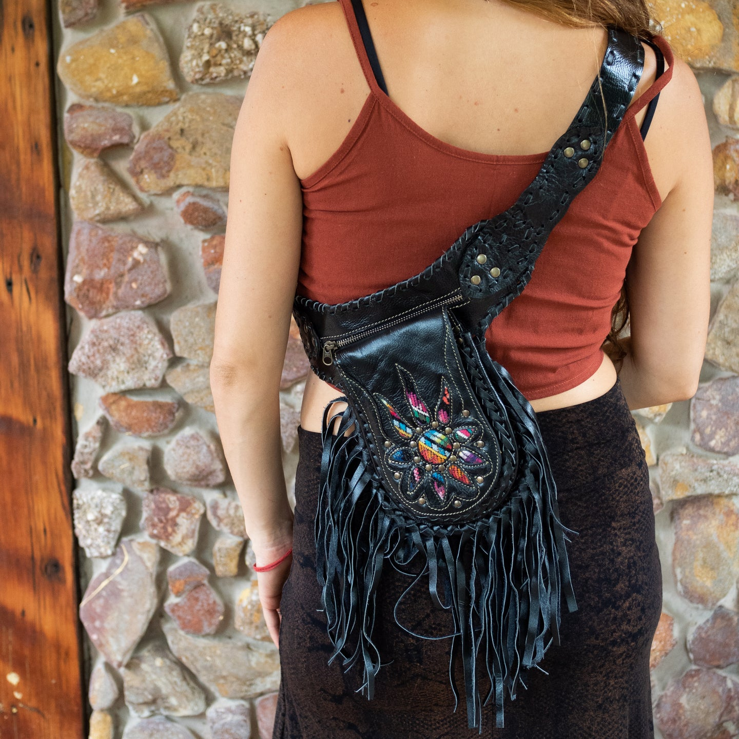 Black Bohemian Leather Festival Belt with Tassels and Embroidery
