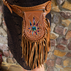Tan Bohemian Leather Festival Belt with Tassels and Embroidery