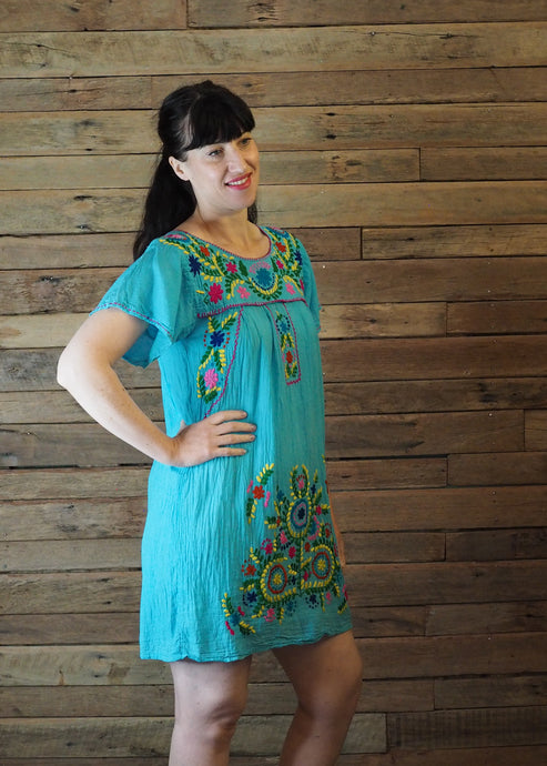Little Frida shift Dress - Blue Brights