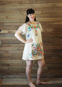 Little Frida shift Dress - Cream and Brights