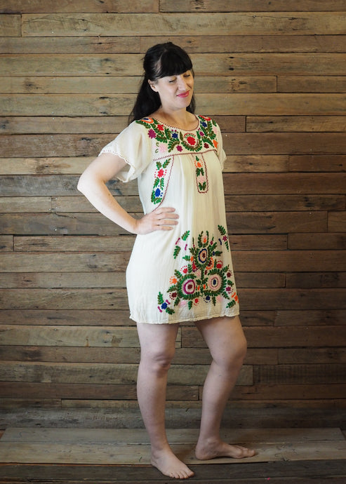 Little Frida shift Dress - Cream and Green
