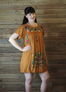 Little Frida shift Dress - Dark Mustard